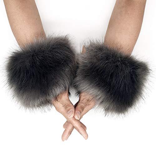 FHQHTH Women Fur Cuff Winter Faux Fur Short Wrist Cuff Arm Sleeves Fuzzy Arm Warmers [Grey]