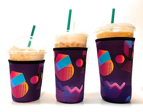 Wiederverwendbare, isolierte Neopren-Hülle für Eiskaffee, Getränkehalter für kalte Getränke, für Starbucks Kaffee, McDonalds, Dunkin Donuts, Tim Hortons und mehr, 3 Stück