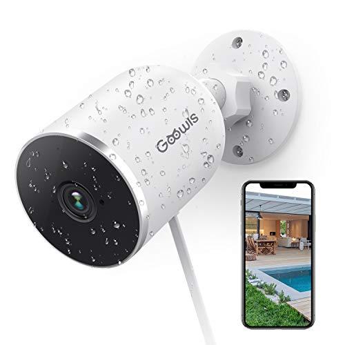 Cámaras de Vigilancia WiFi Exterior/Interior, Goowls 1080P Cámara IP WiFi Exterior con IP65 Impermeable, Cámaras de Seguridad, Visión Noturna, Audio Doble Vía, Detección de Movimiento, Control Remoto