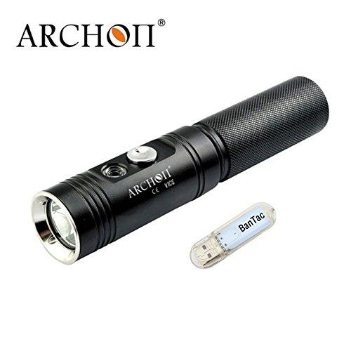 Archon V10S Tauchlicht 860 Lumen/60 Meter Unterwasser-Tauchlampe mit 18650 Li-Ionen-Akku (Nicht im Lieferumfang Enthalten), mit BanTac Licht, Schwarz