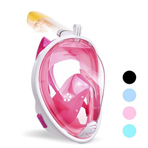 ACTENLY Panorama Vollmaske Schnorchelmaske Tauchmaske Vollgesichtsmaske mit 180° Sichtfeld, Dichtung aus Silikon Anti-Beschlag & Wasserdicht für Kinder und Erwachsene Anti-Fog Anti-Leak (Rosa, S/M)