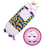 LEMORTH Funny Unicorn Sleeping Socke Almohadilla,siesta Almohada for dormir bolsos Bolsa de dormir plegable,almohada de juego suave,saco de dormir Pijamas for el acampado de viaje 2-en-1 Bolso for dor