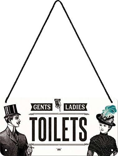 Nostalgic-Art Targa da Appendere Ladies & Gentlemen Toilets – Idea Regalo per i nostalgici, in Metallo, Decorazione con Design Vintage, 10 x 20 cm
