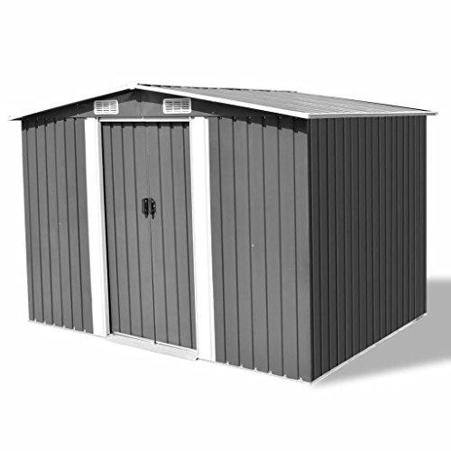 UnfadeMemory Caseta de Almacenamiento de Metal de Jardín,Cobertizo Exterior para Almacenar Herramientas con Bastidor de...