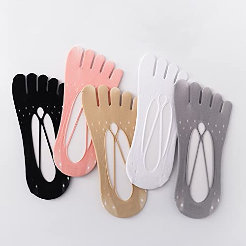 YIANK Women Five Finger Liner Socks No Show Toe Socks w/Non-Slip Heel Grip for Sneaker Lofer Casual or Dress Footwear (5Colors,5Pairs)