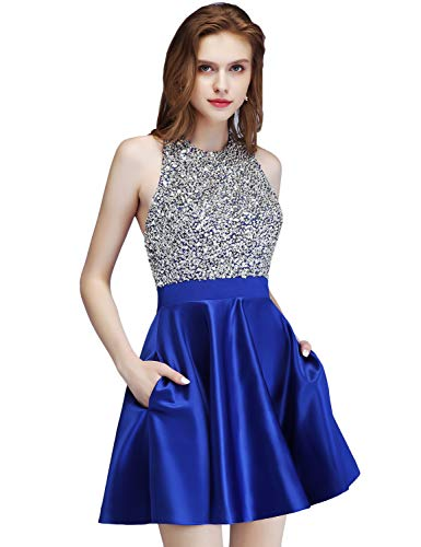 LCRS Juniors Short Prom Dresses with Pockets Satin Beaded Halter A-Line Formal Homecoming Dress 6 Royal Blue