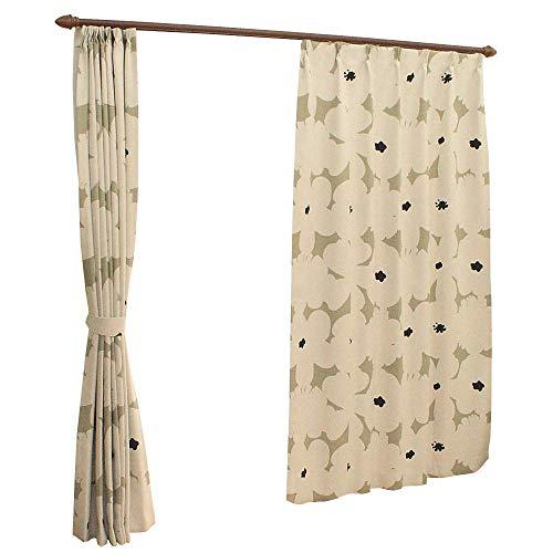 北欧風 花柄 【 ミーナ 】 ドレープカーテン 2枚組 [ 即納 ] お得 既製 サイズ 巾100cm×丈178cm ベージュ