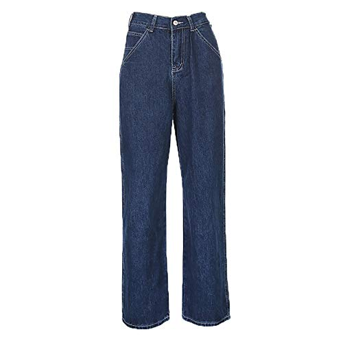 Retro Blaue Frau Jeans Kausal Lose Lose Hohe Taille Enge Tasche Overalls...