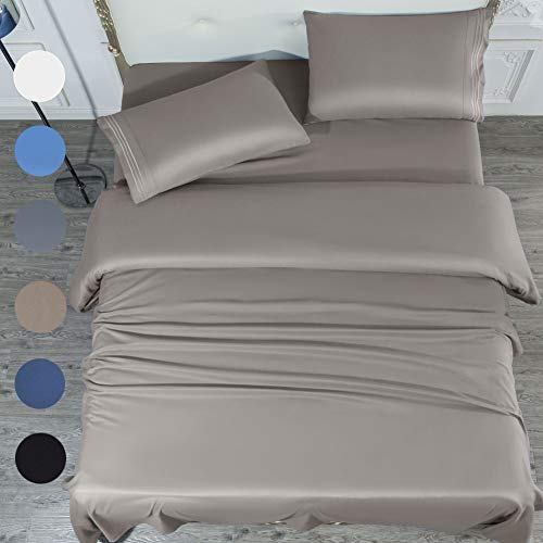 SONORO KATE Bed Sheet Set Super Soft Microfiber 1700 Thread Count Luxury Egyptian Sheets 16-Inch Deep Pocket,Wrinkle and Hypoallergenic-4 Piece (Grey, King)
