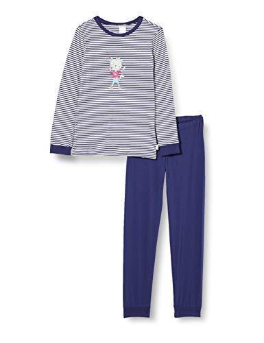 Schiesser Mädchen Cat Zoe Md Schlafanzug lang Pyjamaset, Nachtblau, 116
