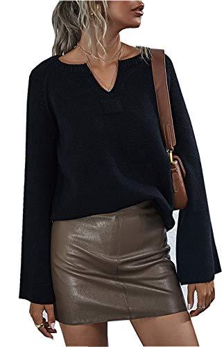 ZIYYOOHY Damen Strickpullover V Ausschnitt Langarmshirts Pullover Sweatshirt Schulterfrei Lose Casual Oberteil Tops Sweater Pulli (026 Schwarz, S)