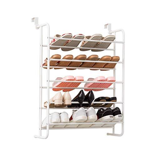 Bastidores de zapatos Almacenamiento Blanco Ciencias de zapatos de metal de cinco capas. Organizador de zapatos de pared y puerta ajustable, alojados 15 pares de zapatos zapatos bastidores de zapatos.