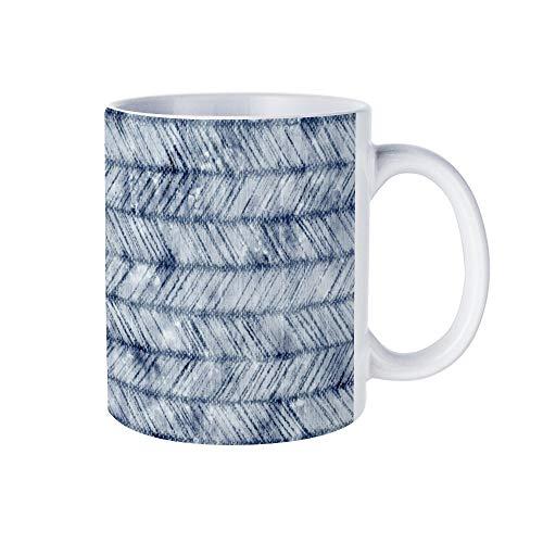 Wendana Distressed Jean Blue Chevron Novelty Mok, Grappige Koffiemok, Ceremic Coffee Cup Mok, 11oz, voor Vrienden, hem, haar, moeder