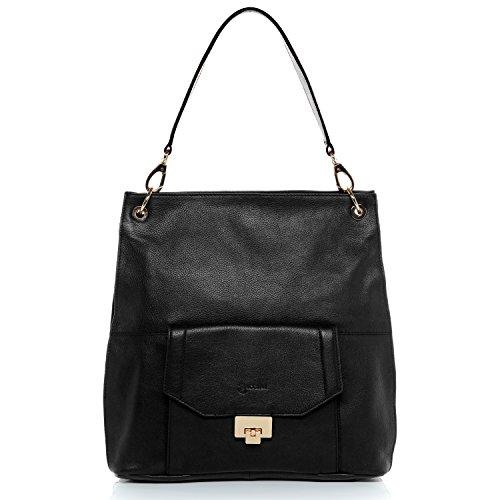 BACCINI® borsa a spalla vera pelle LUISA sacchetto borse a secchiello donna cuoio argento