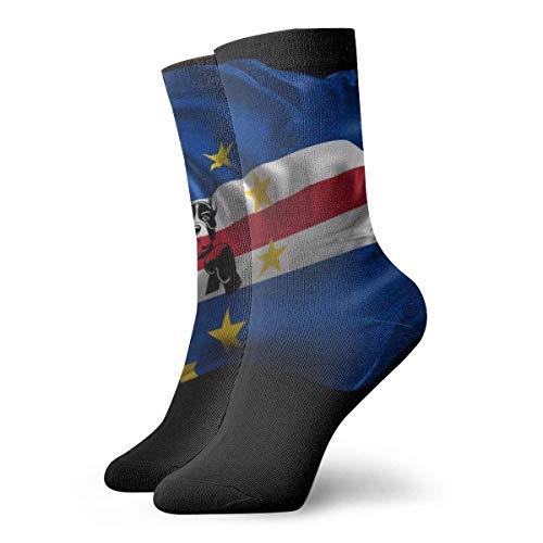 Animación en 3D de la bandera de Cabo Verde Calcetines cortos para adultos Calcetines cortos de algodón Calcetines divertidos de algodón para hombres Mujeres Yoga Senderismo Ciclismo Correr Fútbol