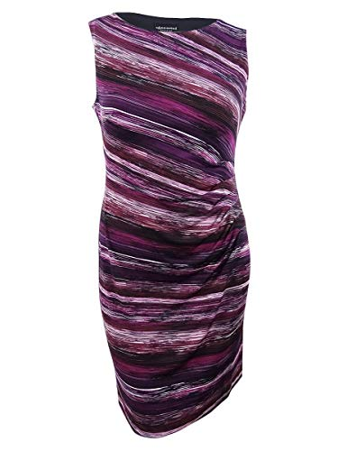 Connected Apparel Womens Petites Printed Sleeveless Sheath Dress Purple 14P