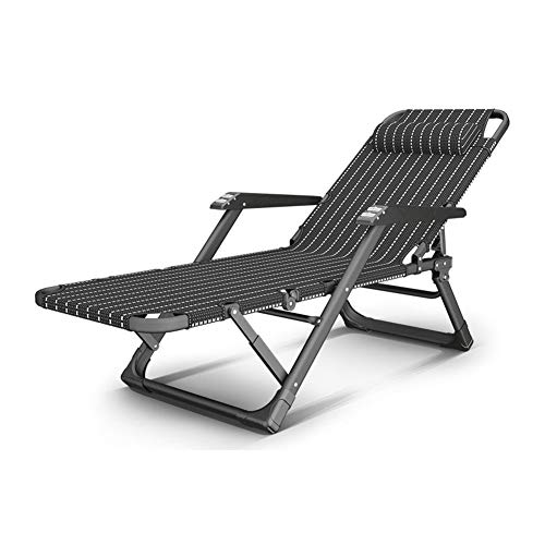 LRX Tumbona Gravedad Cero Silla Reclinable Silla Plegable Silla de salón Altura de Respaldo Ajustable Adecuado for balcón de Playa jardín Patio Dormitorio Sala de Estar (Color : Black)
