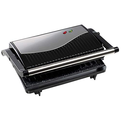 Daewoo SDA1574GE Cool Touch Mini Panini Press, Opens 90? & 180? with Non-Stick Plates for Easy Clean, Skid Resistant Feet On & Ready Light Indicators-750W Power, 220-240v 50hz Type G UK Plug, Silver