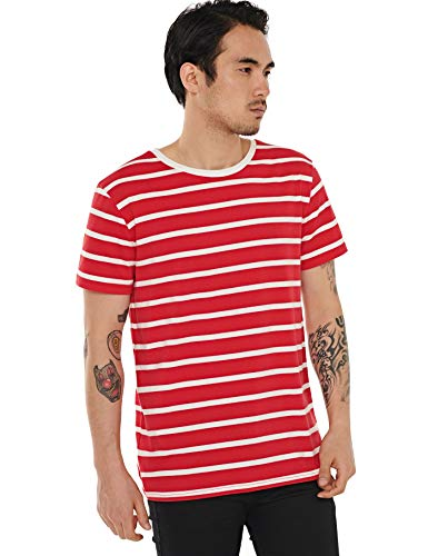 Red and White Striped Shirt Men Stripe T Shirt Cotton Top Tee Red Striped XXL