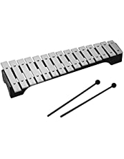 JJmooer 15 notas Xilófono Glockenspiel Base de madera Barras de aluminio con mazos Percusión Instrumento musical Regalo con bolsa de transporte