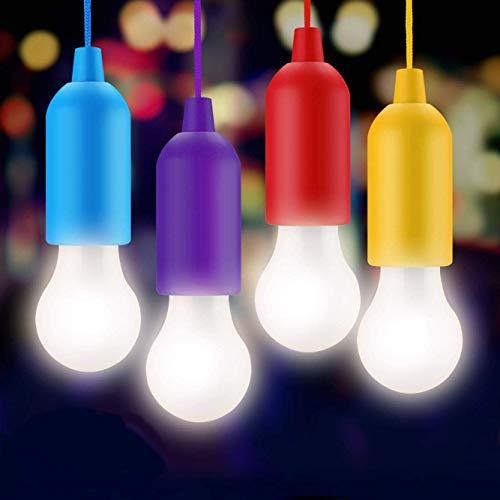 JUNKER Lampade led campeggio,Lampada LED da Campeggio,Light Portatili Lampade Tenda LED, Lampadina,Luce Decorativa,Luce da Emergenza(4 pezzi) per Giardino,Scrivania,Armadio,Campeggio,Pesca,Barbecue
