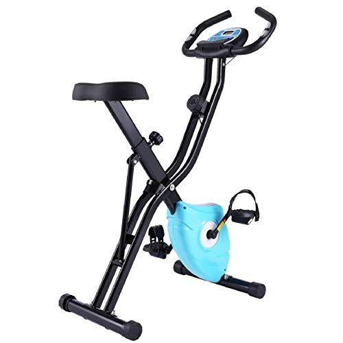 ANCHEER Cyclette Pieghevole con Supporto per Tablet e Sedile Confortevole, Cyclette da Interno con App e 10 Livelli di Resistenza Magnetica Regolabile, capacità di Peso: 265 LB (Blu)