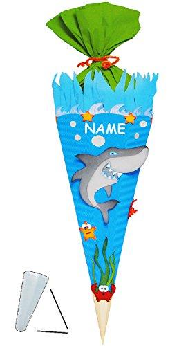 alles-meine.de GmbH BASTELSET Schultüte -  Hai Fisch & Unterwasser Welt  - 85 cm - incl. Name - mit / ohne Kunststoff Spitze - Zuckertüte - Set zum selber Basteln - 6 eckig / b..