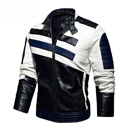 QQA Herren Echtleder Bikerjacke Rindsleder Motorradjacke Leder Stadt Classic Vintage Motorrad Jacke,Blau,XXXL