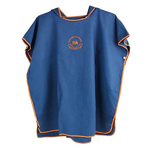 Jian Ya Na Poncho de baño unisex con capucha y capa de baño absorbente de agua de secado rápido para niños, color azul marino