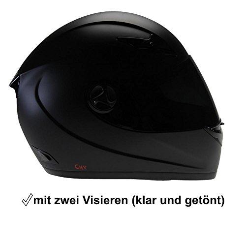 Motorradhelm Integralhelm CMX Blacky S schwarz matt mit Visier getönt + klar