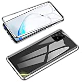 Jonwelsy Kompatibel für Samsung Galaxy A91 / S10 Lite Hülle, 360 Grad Vorne & Hinten Gehärtetes Glas Transparente Hülle Cover, Stark Magnetische Adsorption Metallrahmen Handyhülle für A91 (Silber)