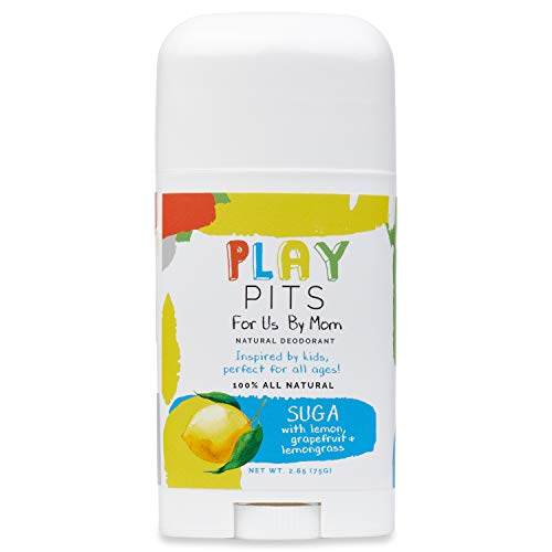 PLAY PITS Natural Deodorant - Free of Aluminum, Parabens & Sulfates | Infused with Grapefruit, Lemon and Lemongrass Essential Oils - Inspired by Kids, Perfect for All Ages- SUGA - 2.65 fl.oz