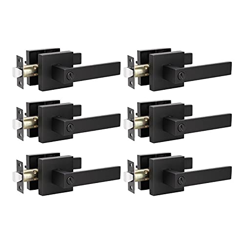 KNOBWELL 6 Pack Door Handles Black, Privacy Door Lever Bed and Bath Leverset Lockset, Left or Right Handing, Matte Black Finish 2.07 lb One Lever