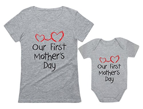 Our First Mother's Day Outfit for Mom & Baby Matching Set Bodysuit & Women Shirt Mom Gray Medium/Baby Gray 18M (12-18M)