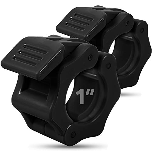 """Quick-Release Safety Collars 1 inch, Set of 2- BLACK – By Day 1 Fitness, Weight Locking Clips for Standard Weightlifting 1"""" Bars - Heavy-Duty 1-inch Plate Clamps for Powerlifting, Strength Training"""