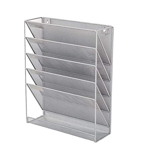 QZH Revistero Estante de Archivos Minimalista Moderno Estante de Almacenamiento de periódicos y revistas de Cinco Capas Estante de papelería de Oficina Caja de revistas (Plata, Talla única) 🔥
