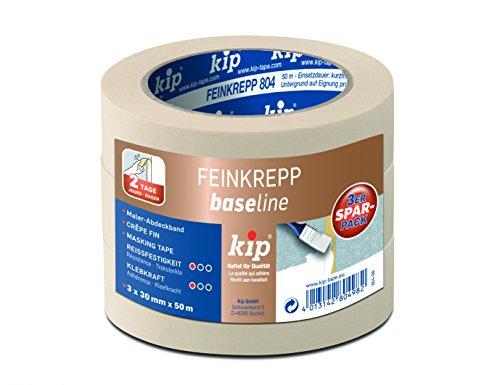Kip Tape 804-98 Kip Feinkrepp Malerband 3er Spar-Pack (3x 30mmx50m), Beige, 3x 30 mm x 50 m