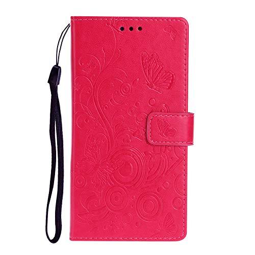 Lomogo Coque Huawei P40 Pro Portefeuille, Housse en Cuir avec Porte Carte Fermeture par Rabat Aimanté Antichoc Étui Case pour Huawei P40Pro - LOXCH030445 Rose Rouge