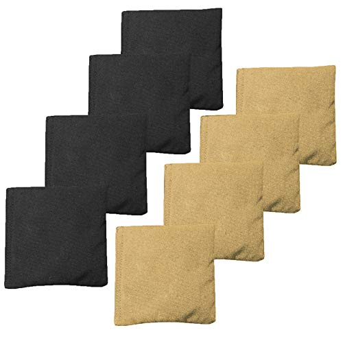 Weather Resistant Cornhole Bean Bags Set of 8 - Regulation Size & Weight - Gold & Black