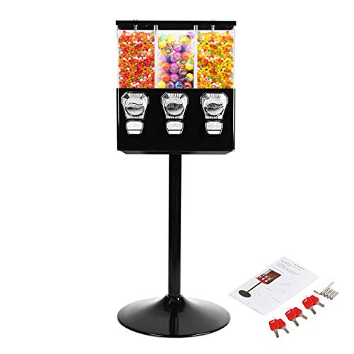 BEAMNOVA Candy Vending Machine Dispenser On Stand Commercial 3Containers Gumball Bank Black Top Lock with Keys for 25 Cent Coin amp Candies or Capsule of Diameter 032mm 0126 inch