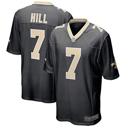 XIANER Herren American Football Rugby Trikot Taysom Custom Hill New Orleans Sweatshirt Saints #7 Game Player Jersey M - Schwarz