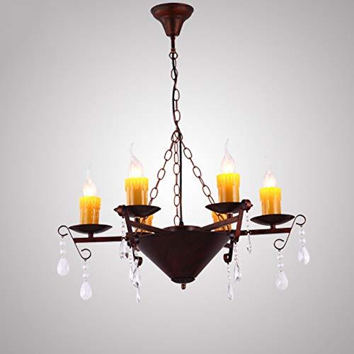PHLPS Luz de techo de la lámpara de hierro forjado americana retro vela de la sala restaurante de iluminación LED Herramienta colgante for el dormitorio, bar, tienda de ropa