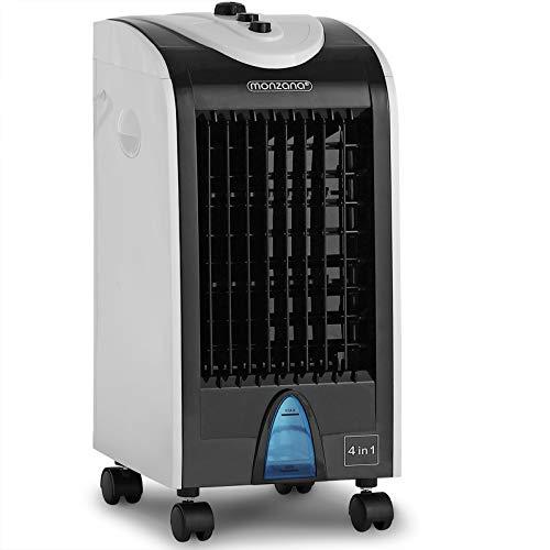 Monzana Klimagerät 4in1 4 L Tank Luftfilter 3 Stufen Rollen Ionisator Luftbefeuchter Ventilator Klimaanlage Luftkühler