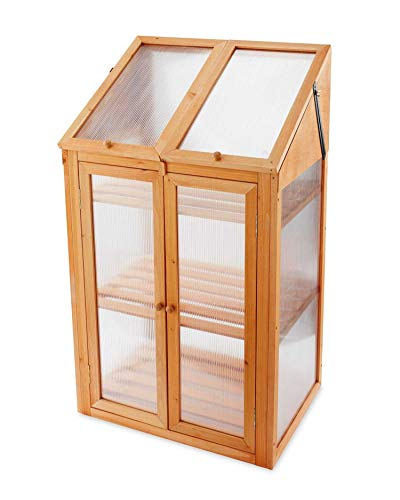 Double Door Wooden Mini Cold Frame Greenhouse Approx. Measurements: W69 x D49 x H120cm