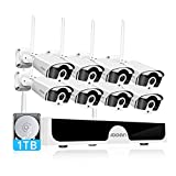 【3MP】 Wireless Security Camera System,JOOAN 8 Channel 3MP NVR with 1TB Hard Drive,8pcs 3.0 Megapixel(2304x1296) WiFi IP Security Surveillance Cameras with Audio Outdoor Indoor,H.265+ NVR