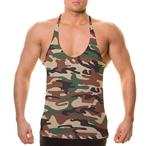 Alivebody Herren Bodybuilding Tank Top Sport Weste Gym Sleeveless Muskelshirt Tarnen M