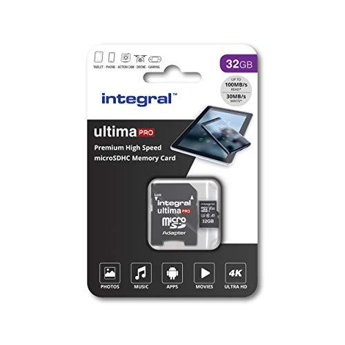 Integral Carte Mémoire 32Go MicroSDHC UltimaPro Haute Vitesse jusqu'à 100MB/s Classe 10, V30, UHS1, U3, Homologuée A1, + Adaptateur SD