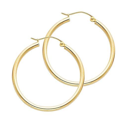 14 Karat 585 Gold Hochglanz Creolen Ohrringe Gelbgold - Breite 2 mm - Große Wählbar (34 Millimeter)