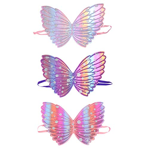 VALICLUD 3 Piezas Mariposa Alas de Hadas Princesa Mariposa Disfraz Alas Regalos para Niños Cumpleaños Disfraces Favores de Fiesta Suministros
