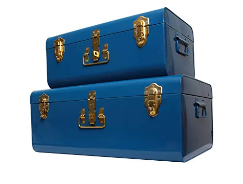 Zanzer Trunk Set - Vintage Style Storage w/Gold Finish Handles & Locks - Space Saving Organizer Home Dorm & Office Use (Blue, 2 Trunks)